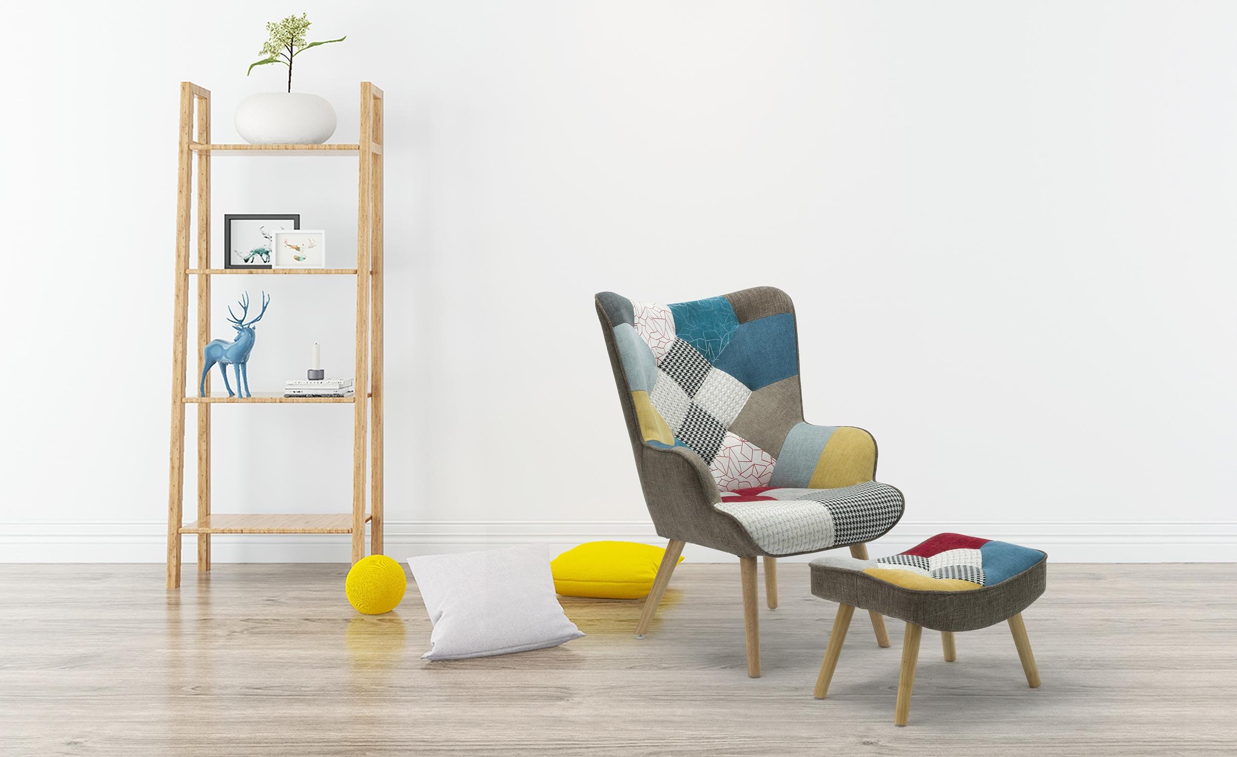 Lylou Skandinavischer Sessel + Hocker, Stoffbezug Patchwork