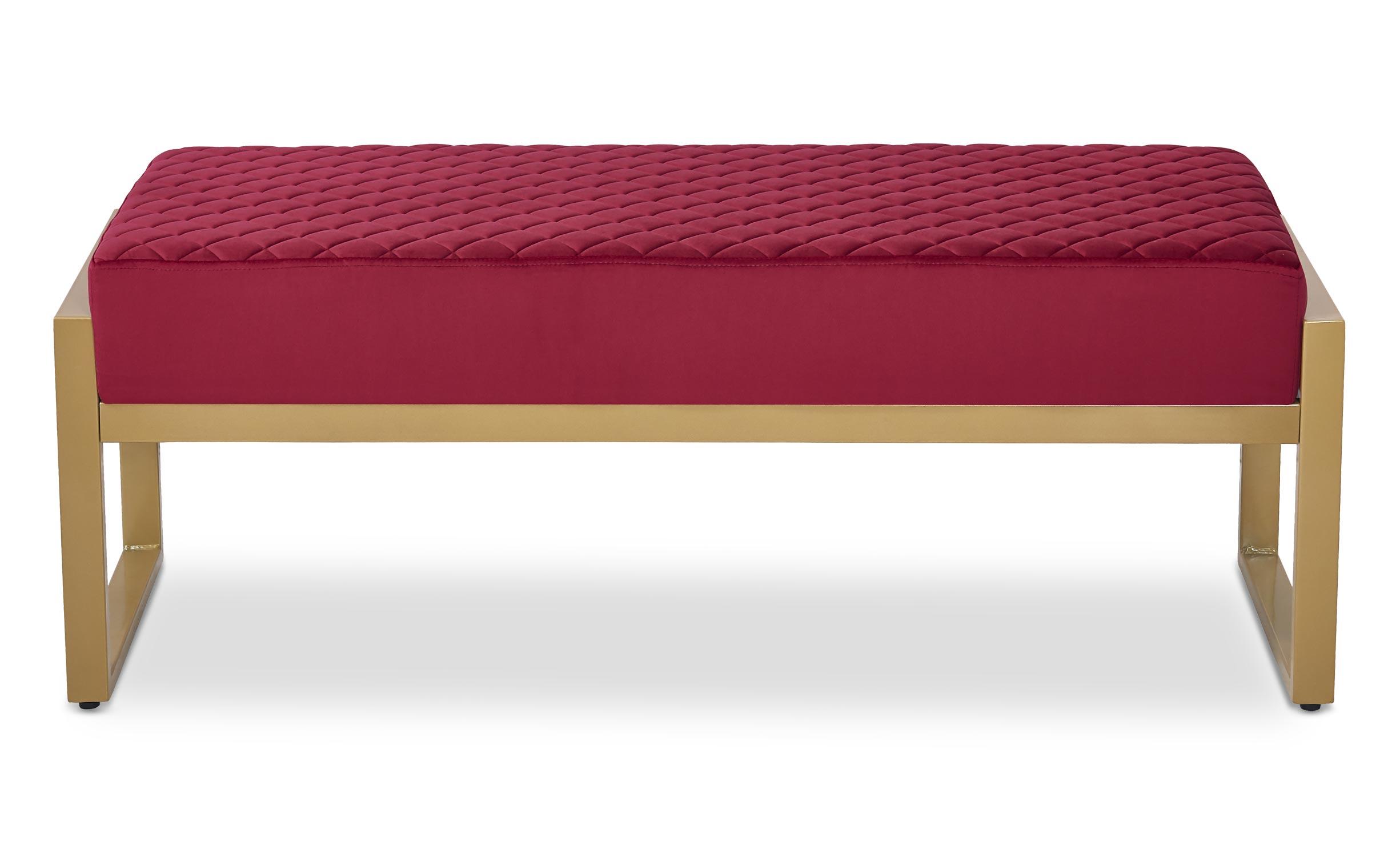 Madison Sitzbank mit goldenen Füßen und Samtbezug Rot