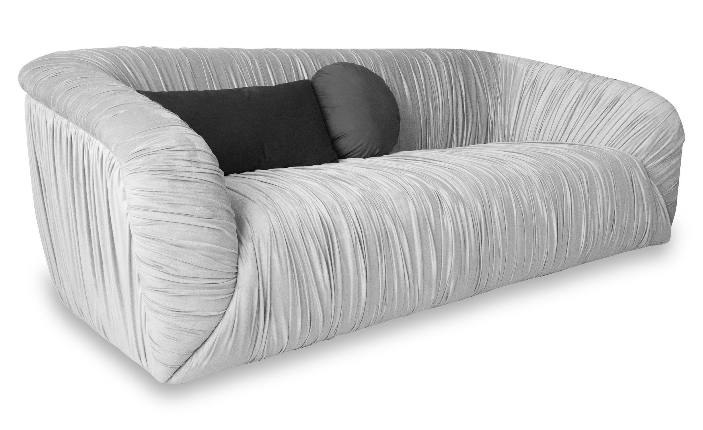 Fayette 3-Sitzer Sofa mit Samtbezug Silber