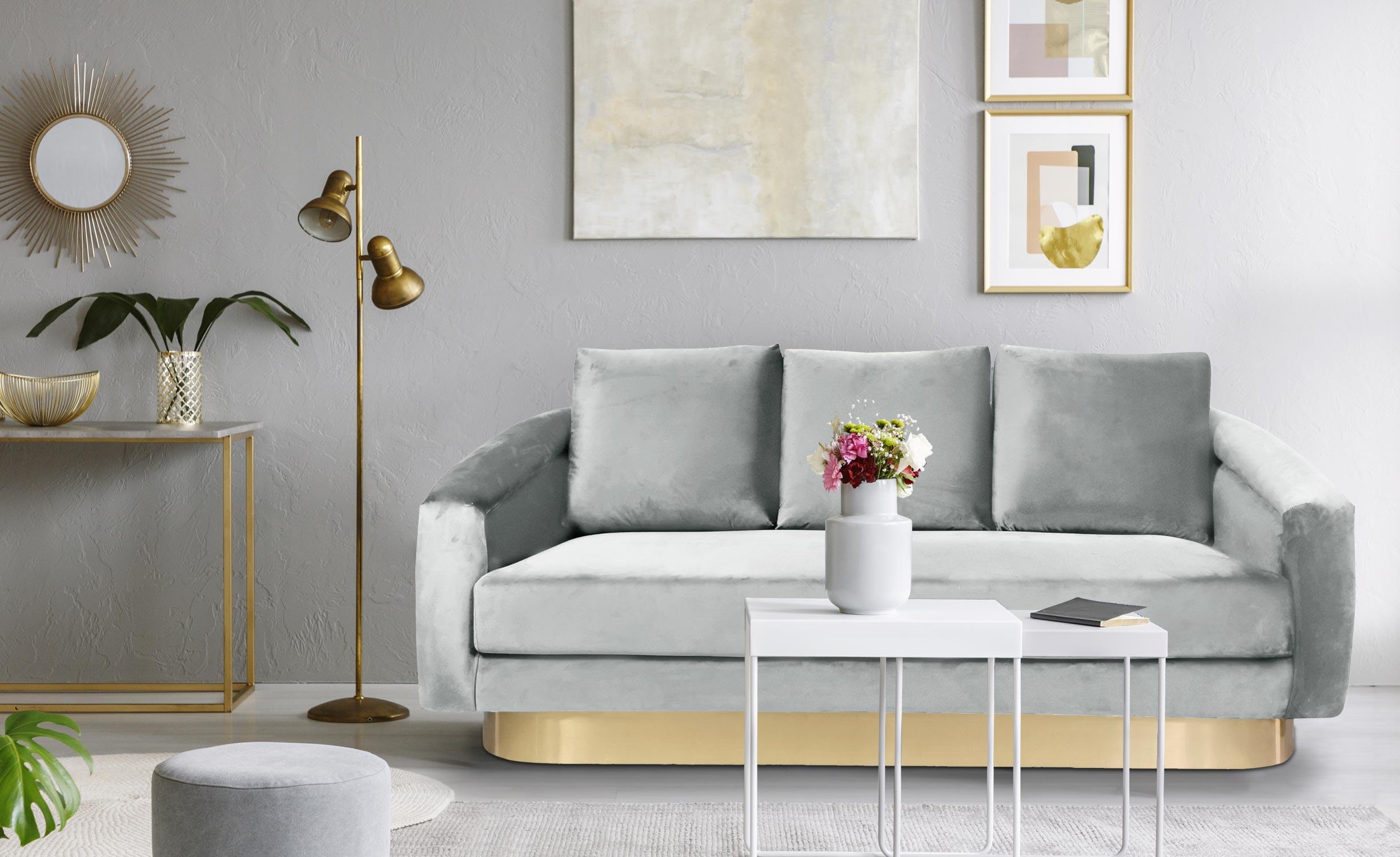 Kenpark 3-Sitzer Sofa mit Samtbezug Silber