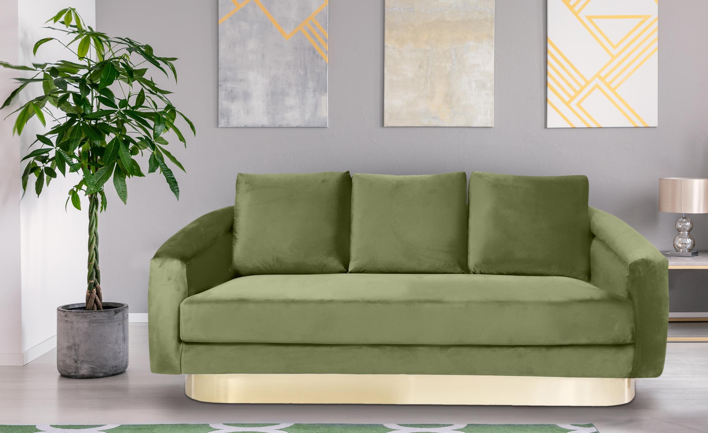 Kenpark 3-Sitzer Sofa mit Samtbezug Khaki