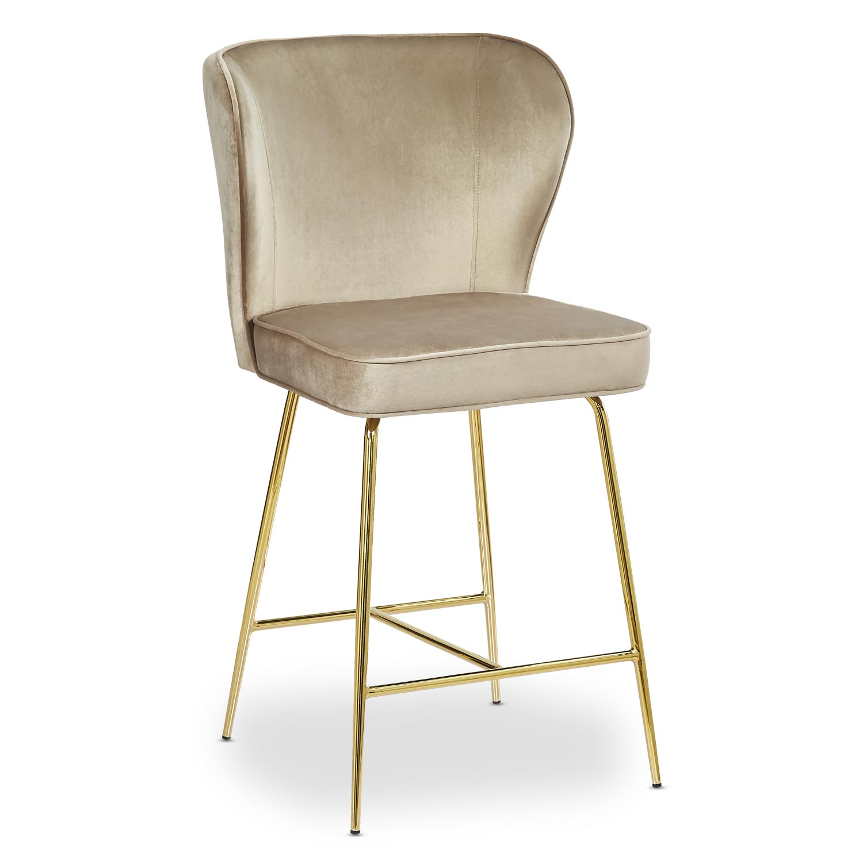 Chaise de bar Elsa Gold Velours Taupe