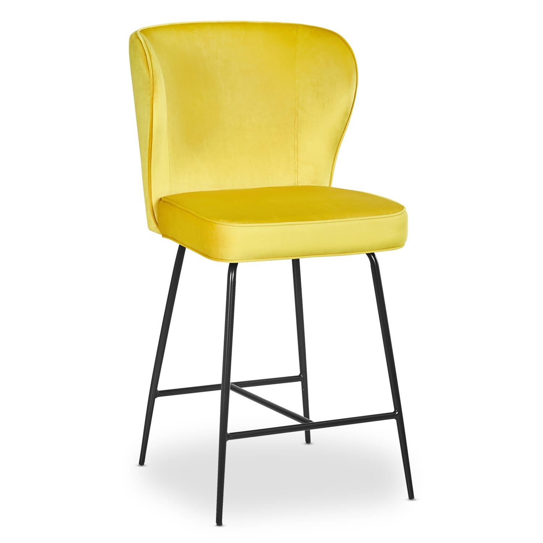 Chaise de bar Elsa Velours Jaune