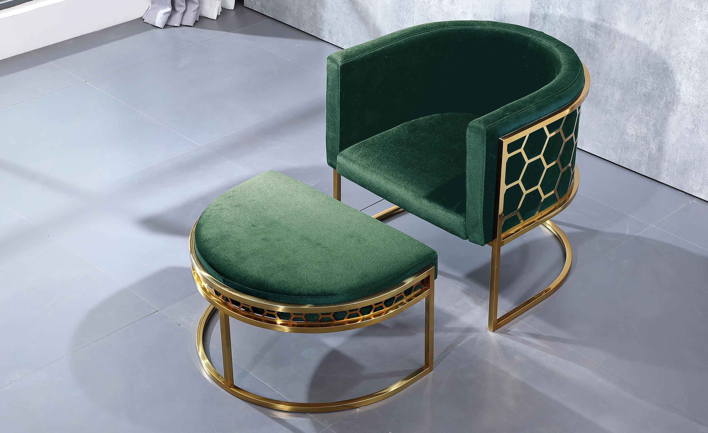 Honey Runder Sessel mit Samtbezug Grün
