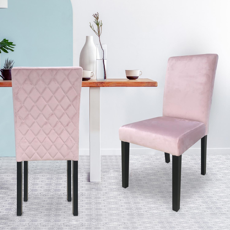 Shaliman Set mit 2 Stühlen mit Samtbezug Rosa