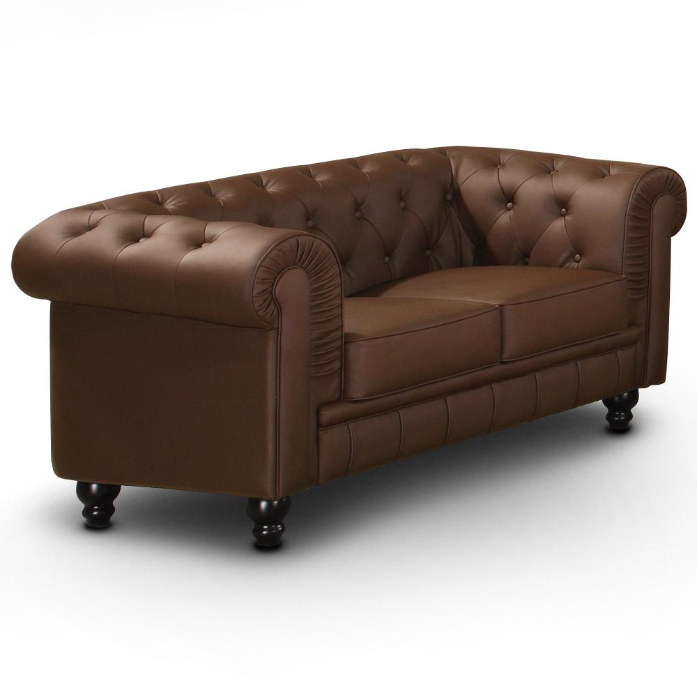 Grand Canapé Chesterfield 2-Sitzer Sofa Braun