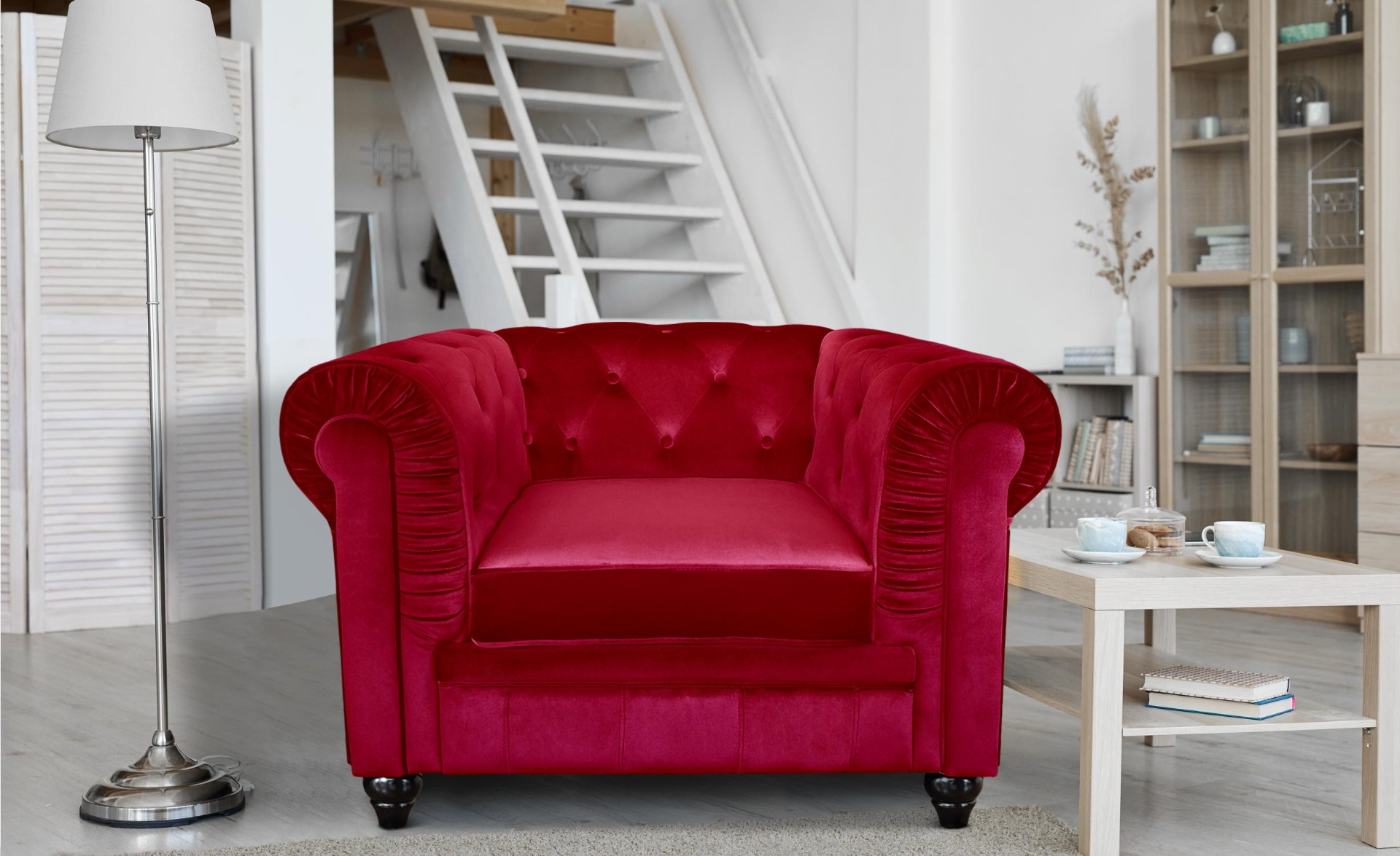 Grand fauteuil Chesterfield - Sessel mit Samtbezug Rot