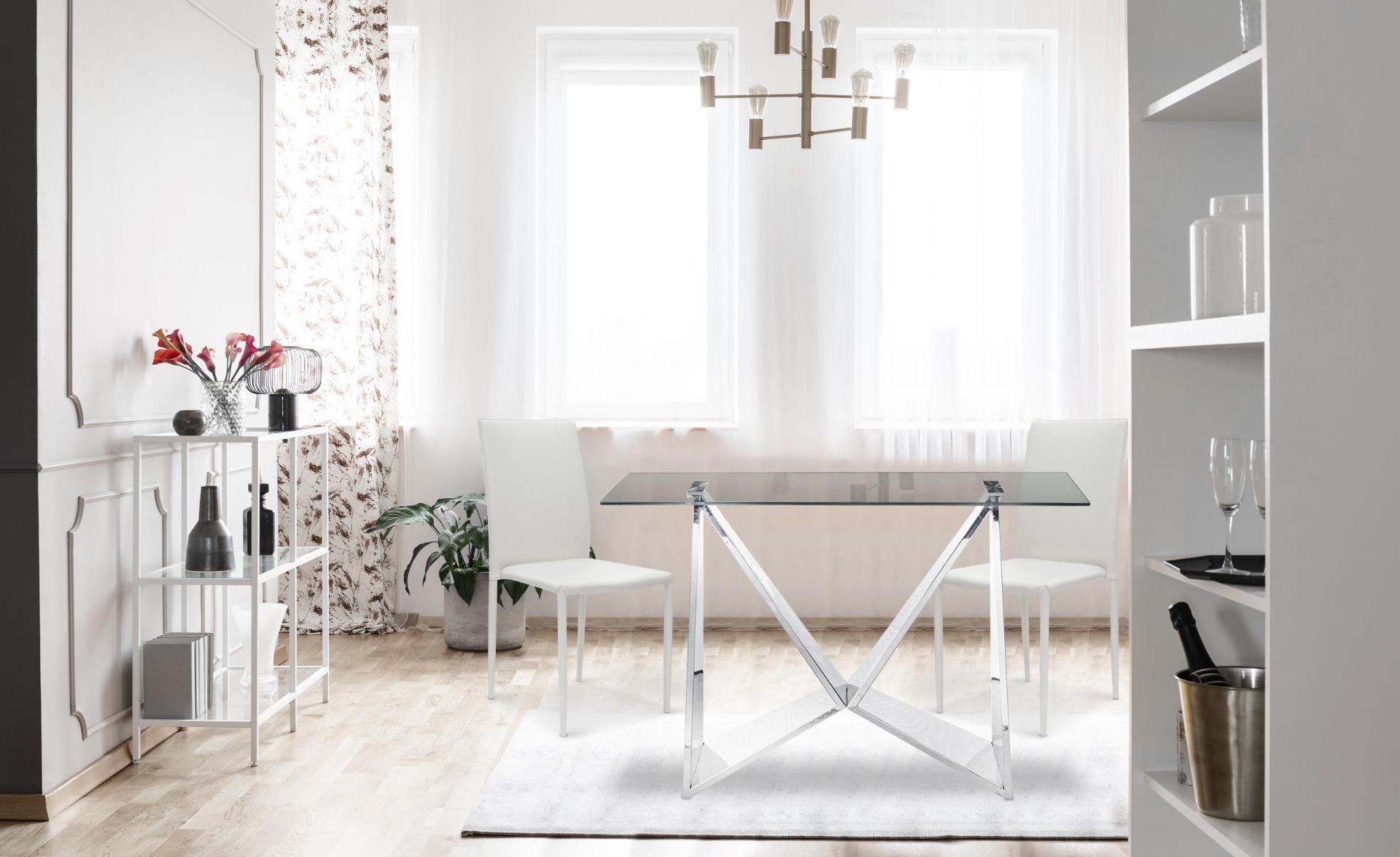 Modan Set mit 6 stapelbaren Stühlen aus Kunstleder Weiß