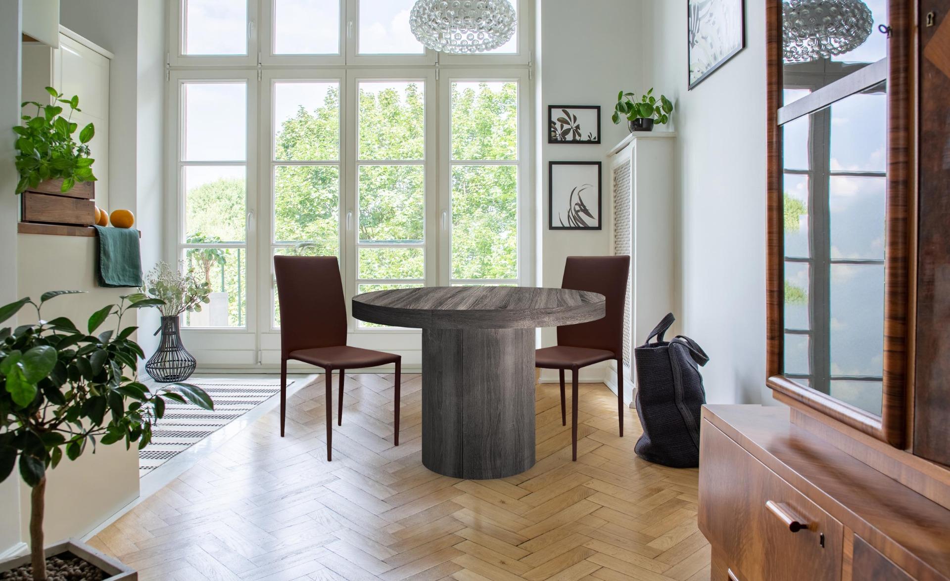 Modan Set mit 6 stapelbaren Stühlen aus Kunstleder Braun