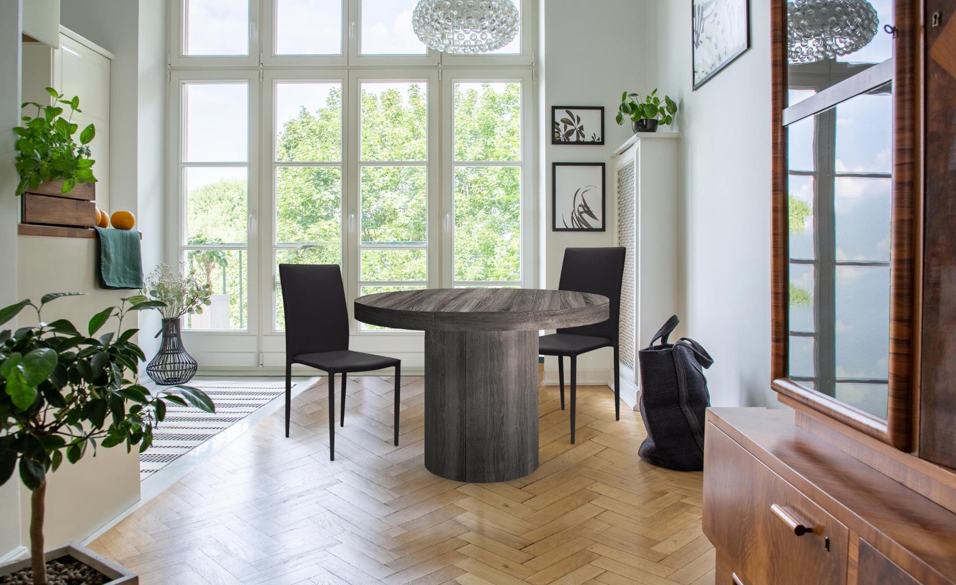 Modan Set mit 6 stapelbaren Stühlen aus Kunstleder Schwarz