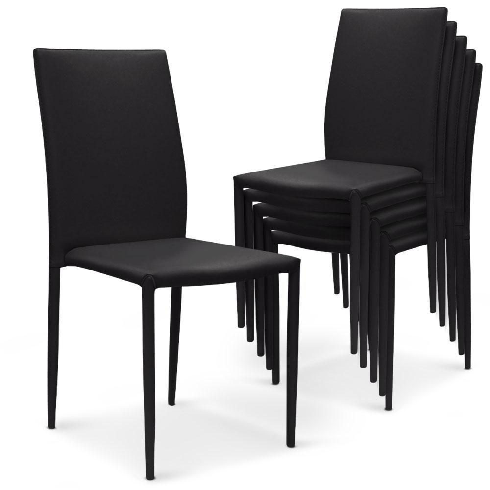Lot de 6 chaises Modan simili-cuir Noir