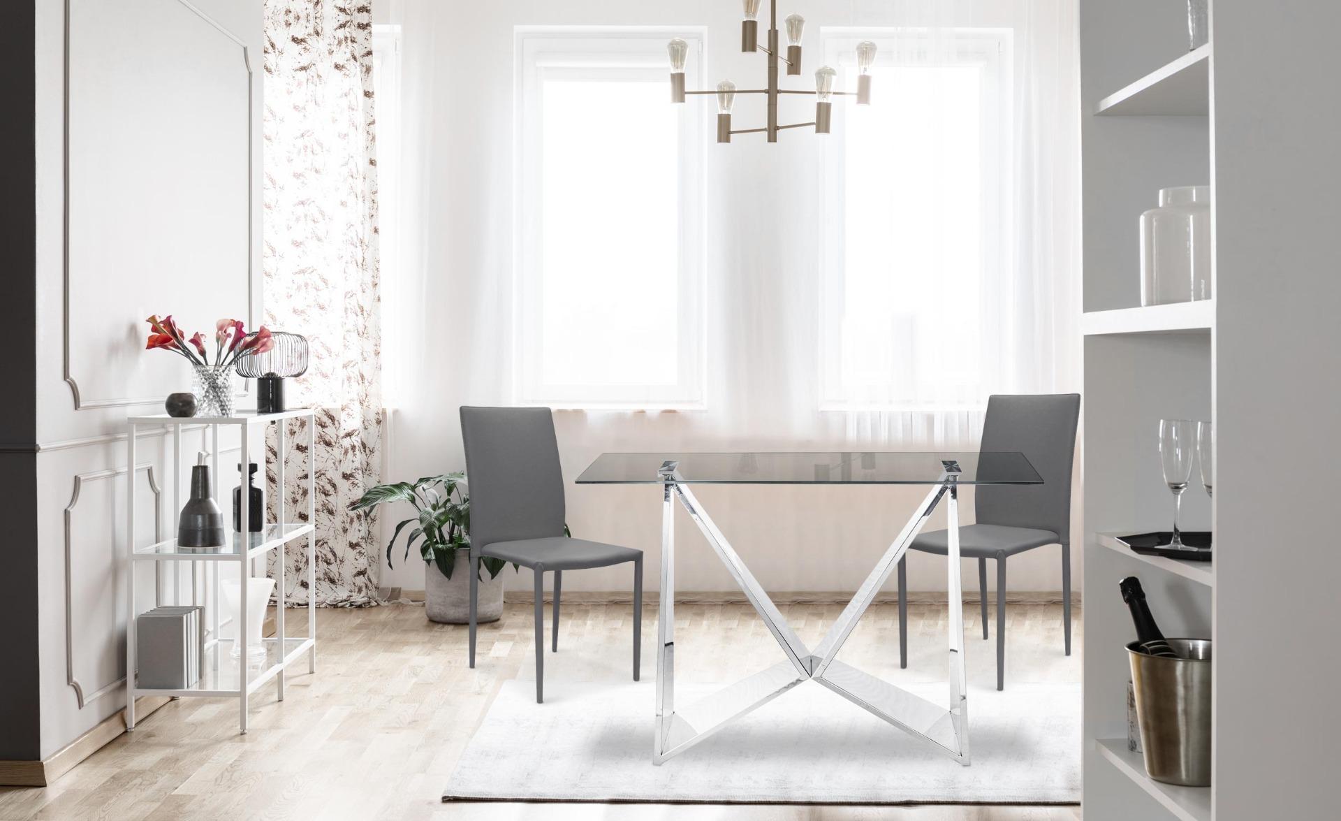 Modan Set mit 6 stapelbaren Stühlen aus Kunstleder Grau