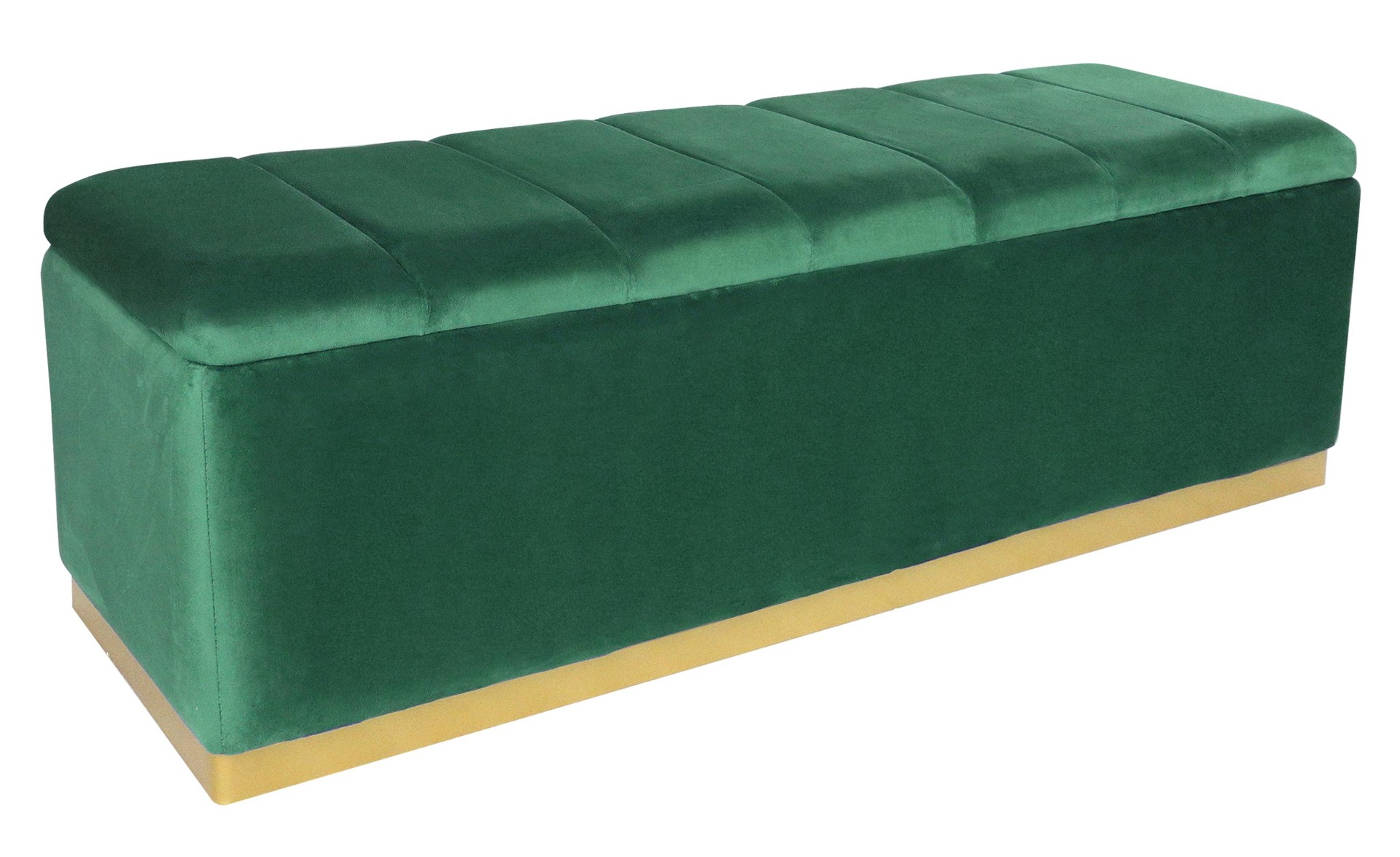 Banc coffre Alexandrie Velours Vert Pied Or