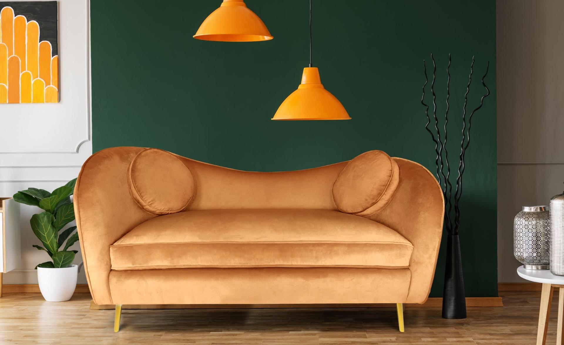 Altess 2-Sitzer-Sofa mit goldenen Metallbeinen und Samtbezug Terracotta