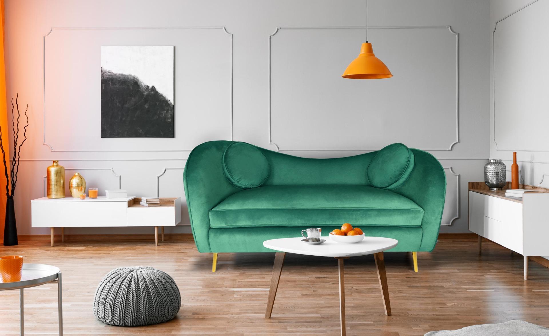Altess 2-Sitzer-Sofa mit goldenen Metallbeinen und Samtbezug Grün