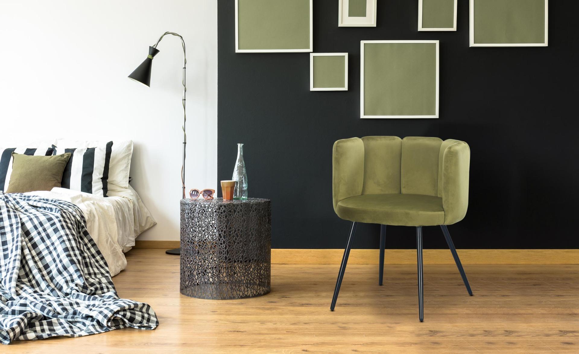 Amela Set mit 2 Stühlen, Samtbezug Khaki