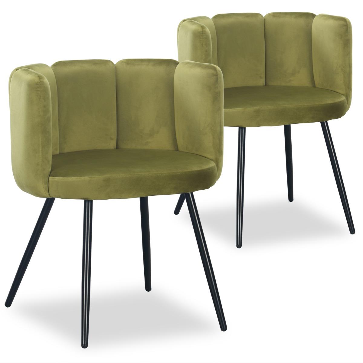 Lot de 2 chaises Amela Velours Kaki