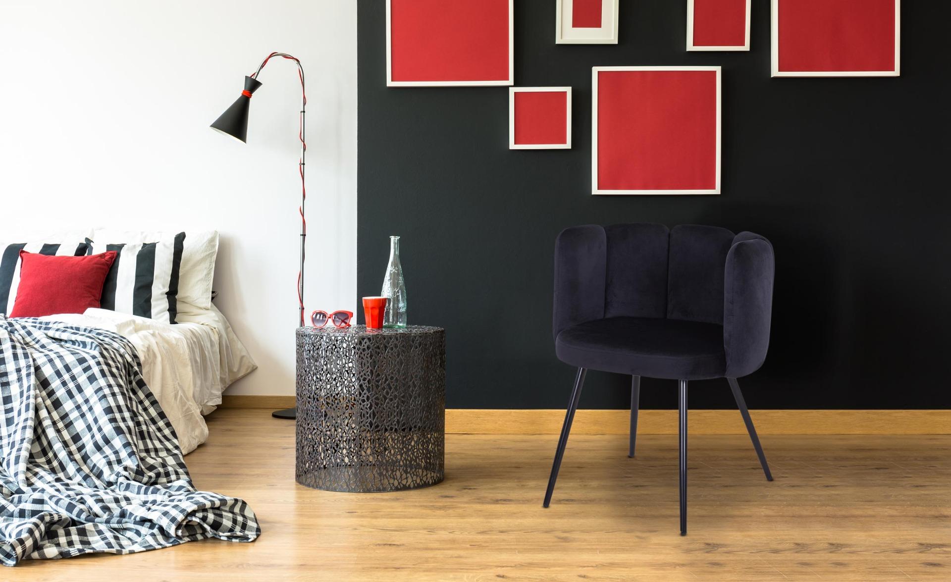 Amela Set mit 2 Stühlen, Samtbezug Schwarz