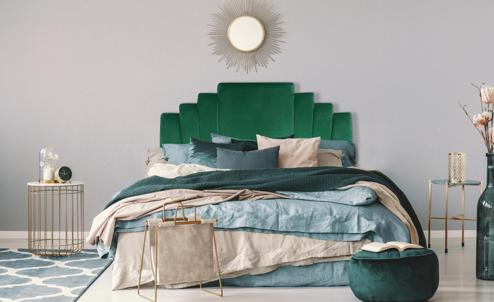 Arena Kopfteil Bett 140 cm, Samtbezug Grün