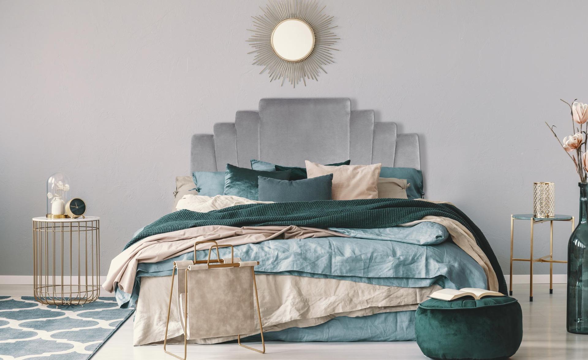 Arena Kopfteil Bett 140 cm, Samtbezug Silber