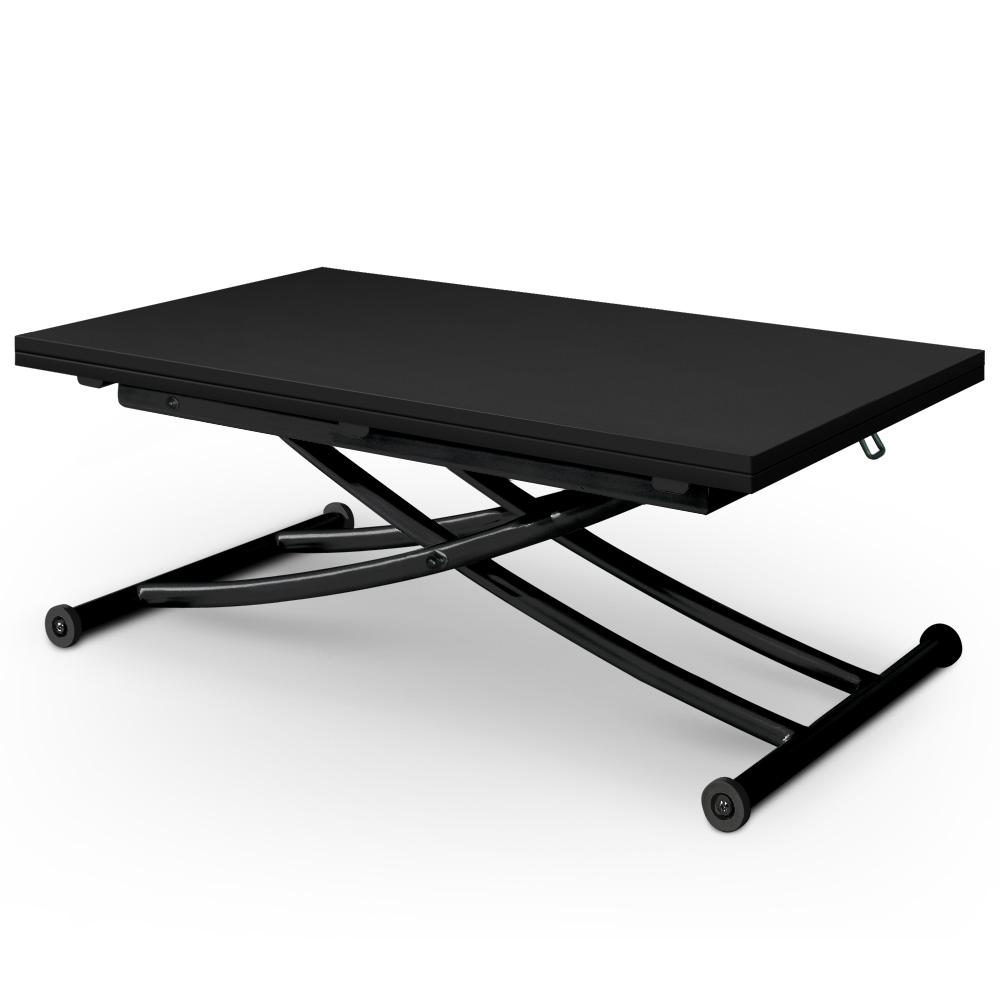 Table basse relevable noir mat Carrera position basse et pliée