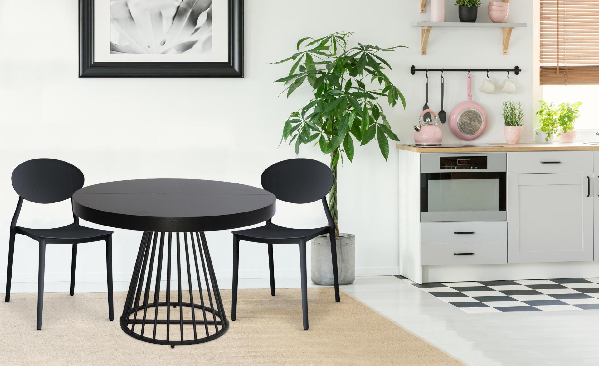 Balagan Set mit 4 stapelbaren Stühlen Schwarz
