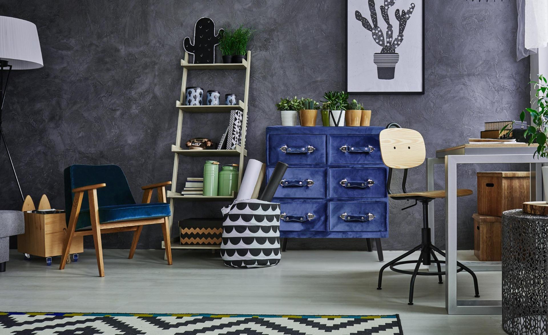 Bardo Kommode mit 6 Schubladen Samtbezug Blau
