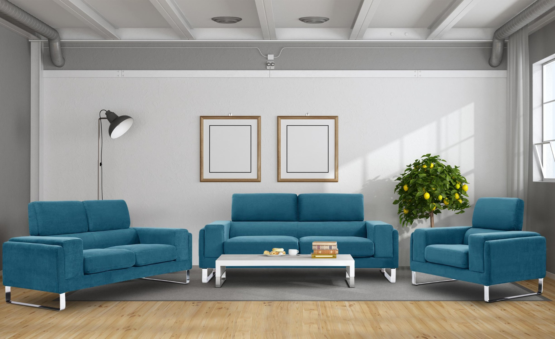 Barth 2-Sitzer Sofa mit Cordbezug Blau