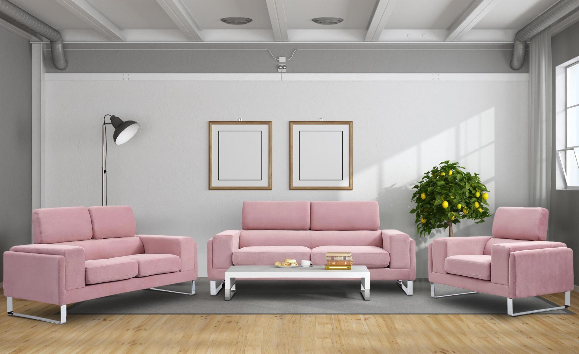 Barth 2-Sitzer Sofa mit Cordbezug Rosa