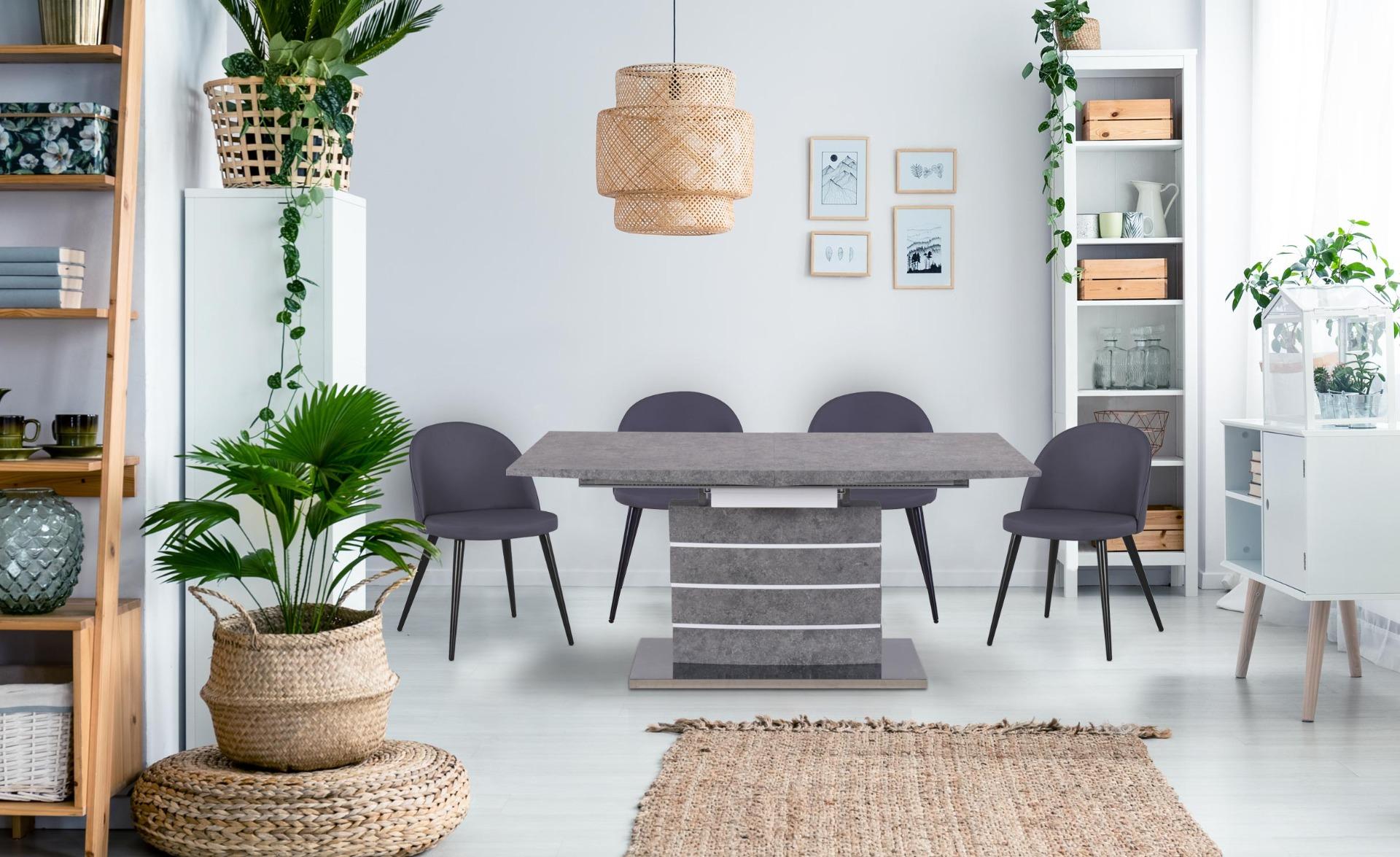 Bilma ausziehbarer Tisch Beton Effekt