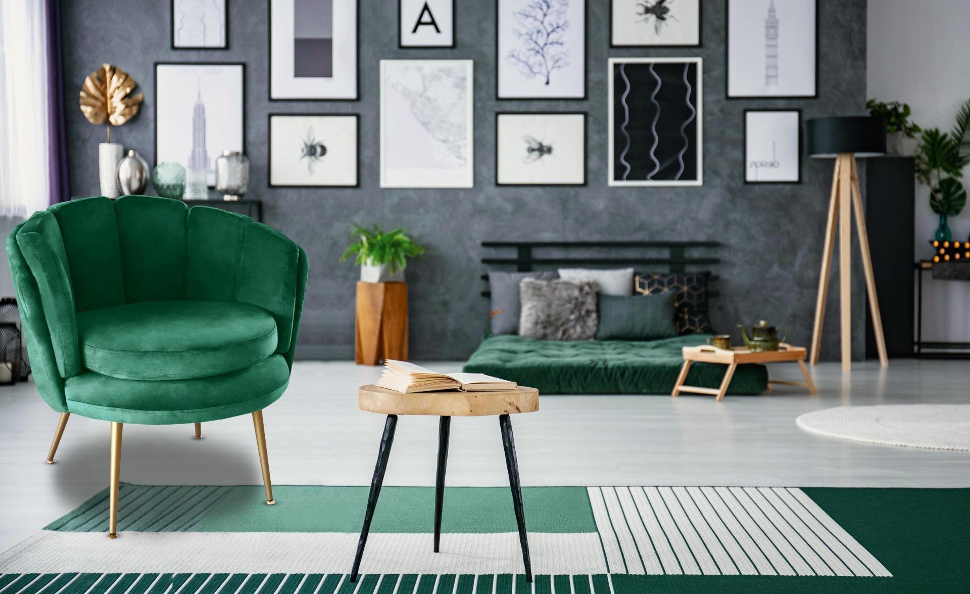 Brenda Runder Sessel mit Samtbezug Grün