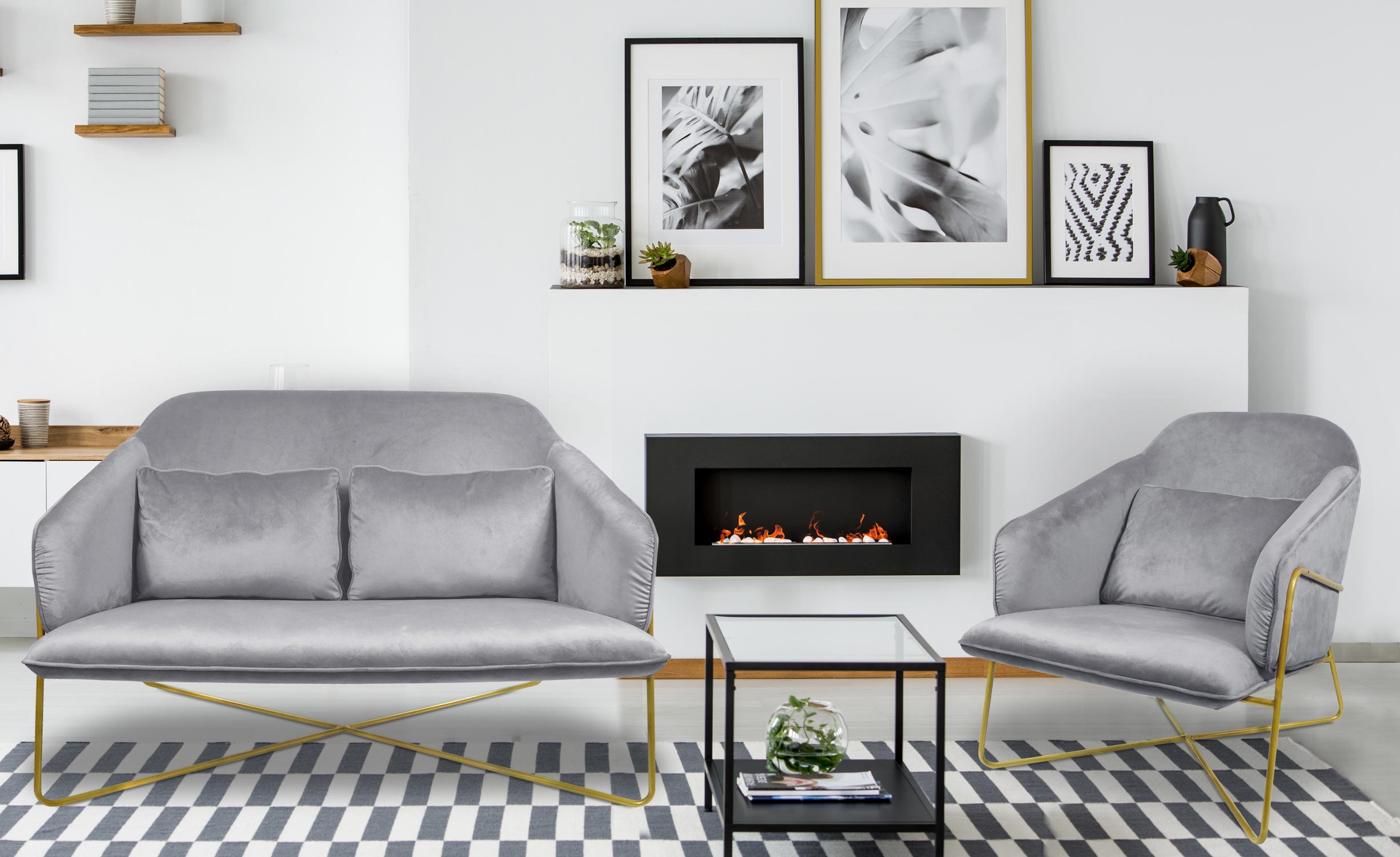 Starlight 2-Sitzer Sofa mit Samtbezug Rosa