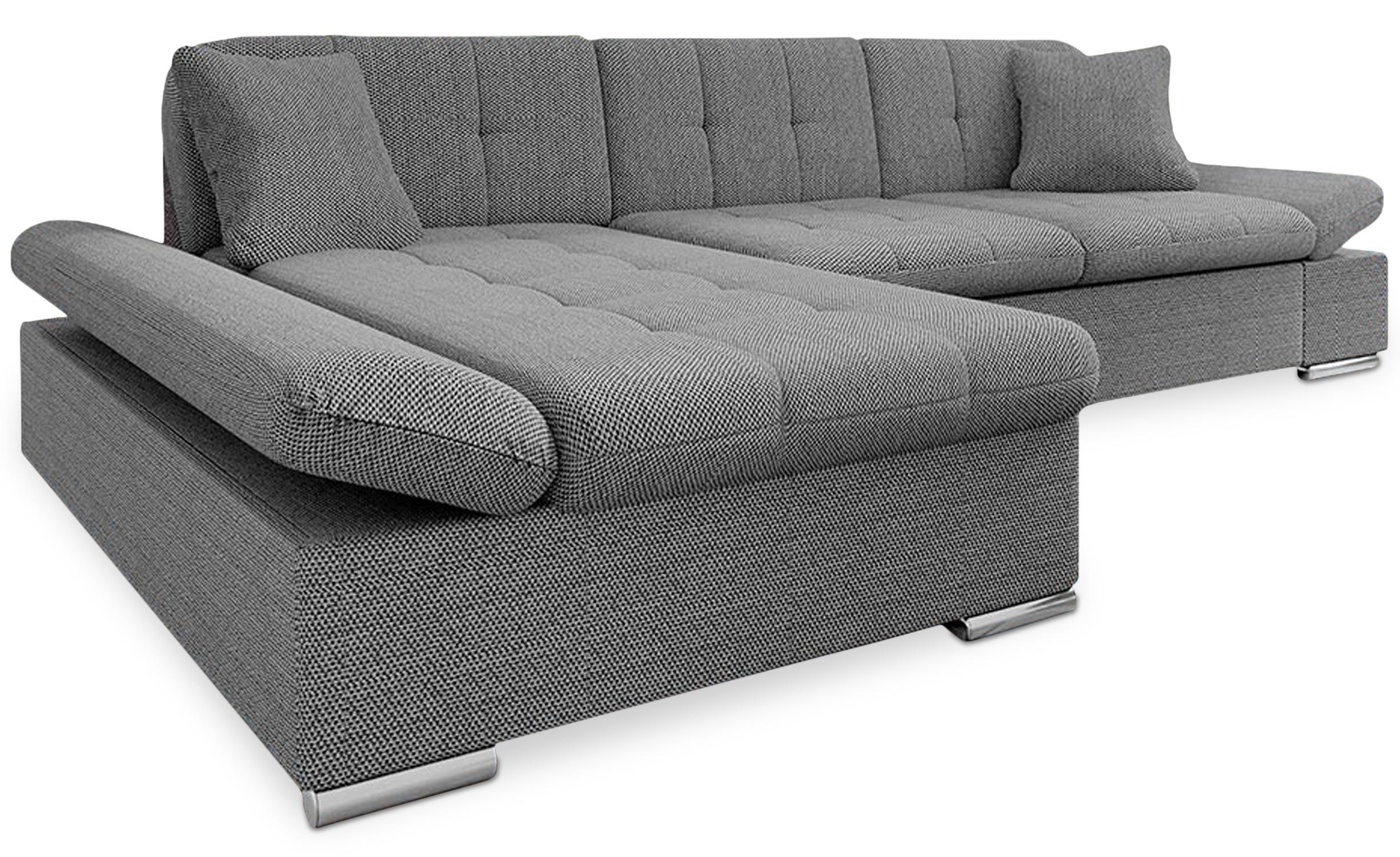Canapé d'angle convertible Baronnet Tissu Gris