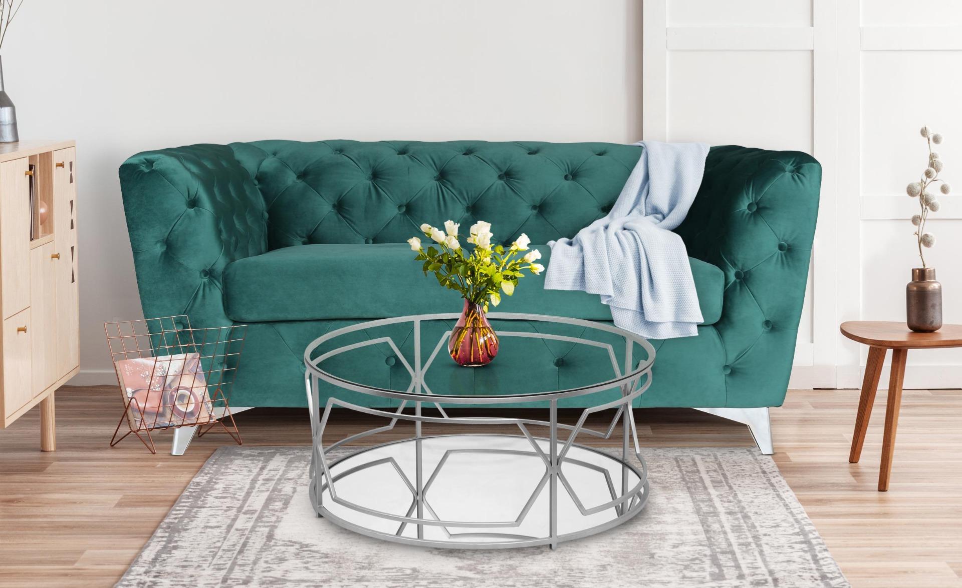 Cantaro 2-Sitzer Sofa mit Samtbezug Grün