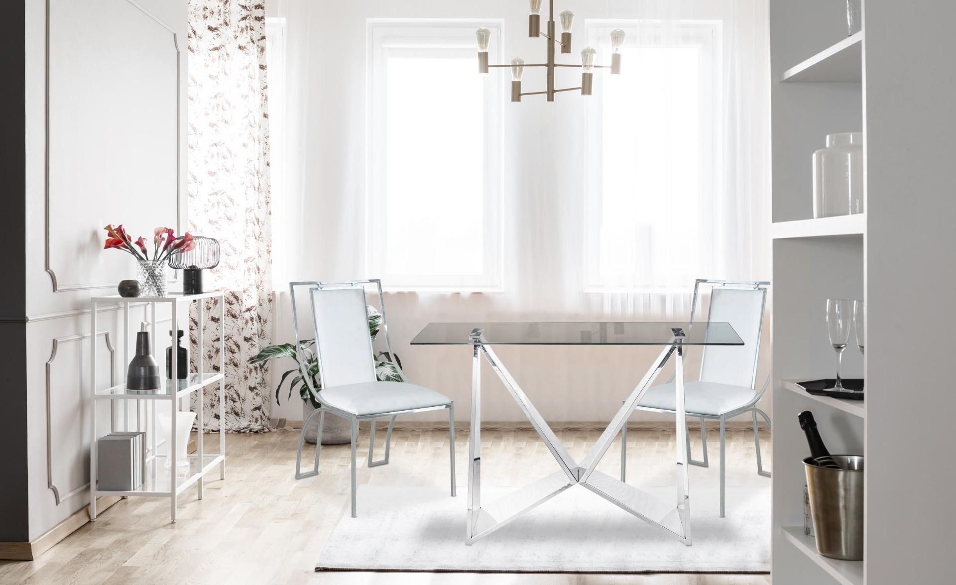 Catarina Set mit 2 Stühlen, Silberne Stuhlbeine und Kunstleder Weiß