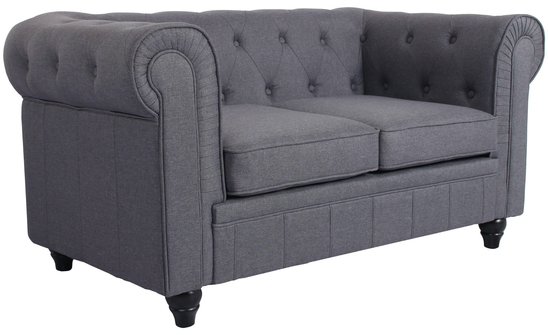 Grand Canapé Chesterfield 2-Sitzer Sofa mit Leinen Effekt Grau