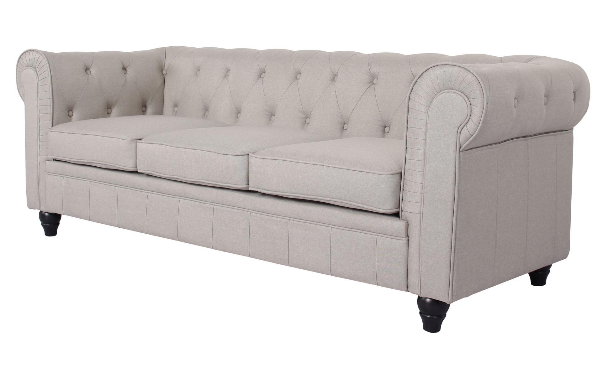 Grand Canapé Chesterfield 3-Sitzer Sofa mit Leinen Effekt Beige