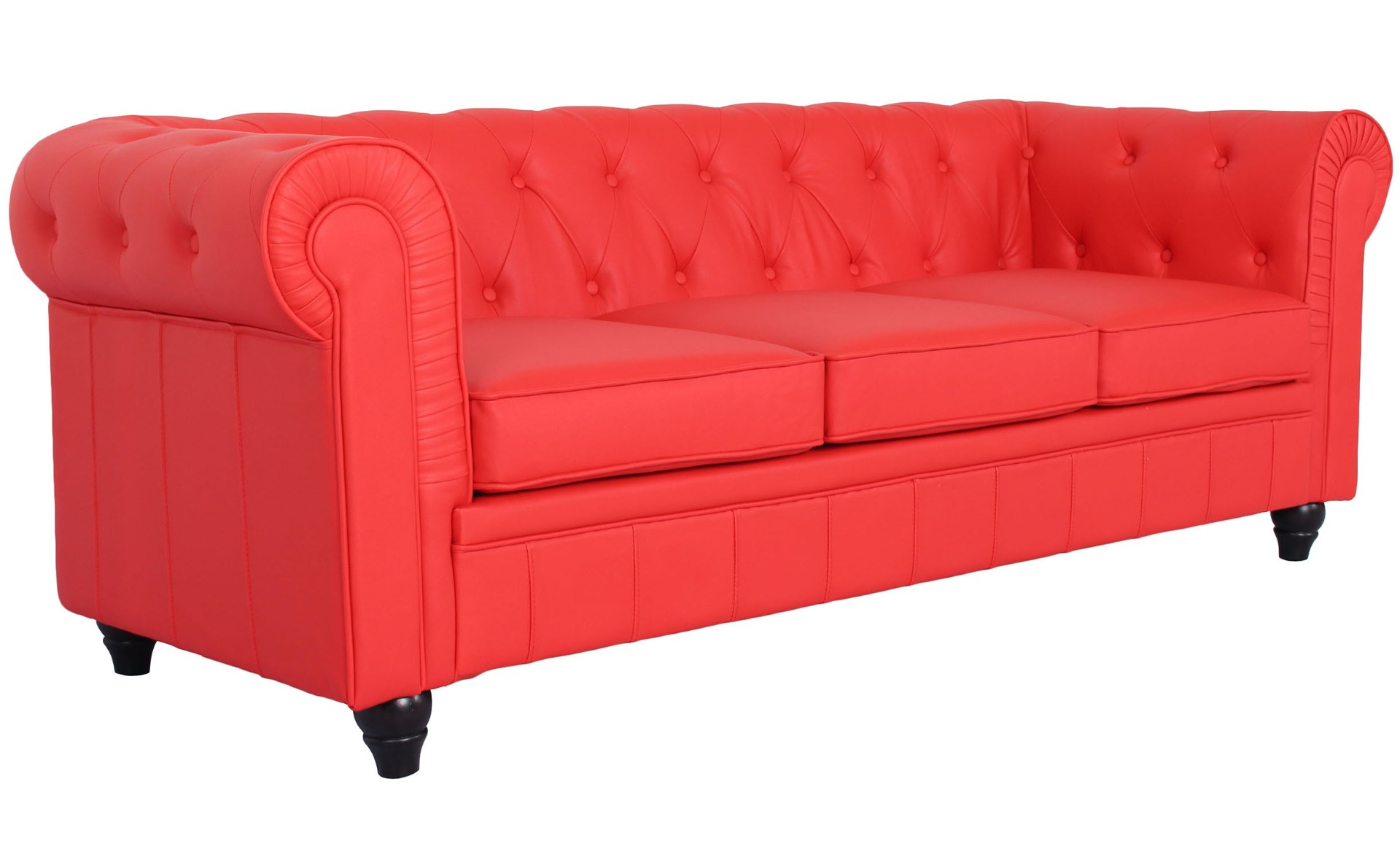 Grand Canapé Chesterfield 3-Sitzer Sofa Rot