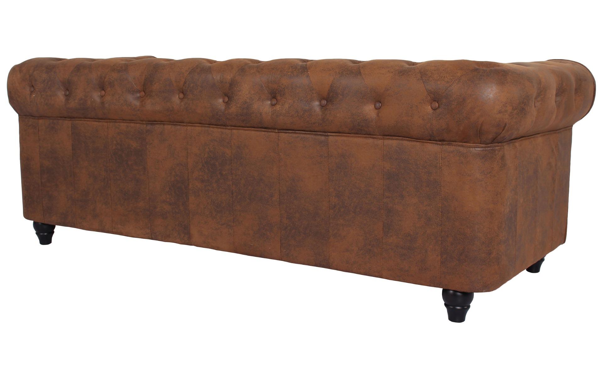 Grand Canapé Chesterfield 3-Sitzer Sofa Vintage