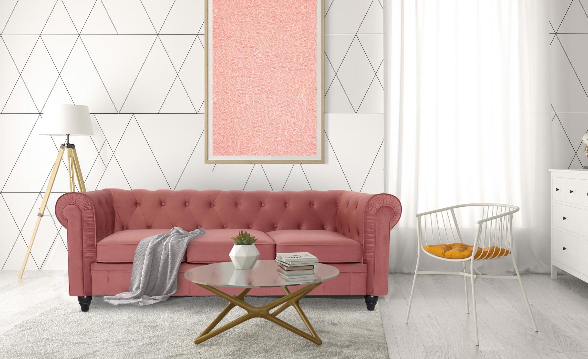 Grand Canapé Chesterfield 3-Sitzer Sofa mit Samtbezug Rosa