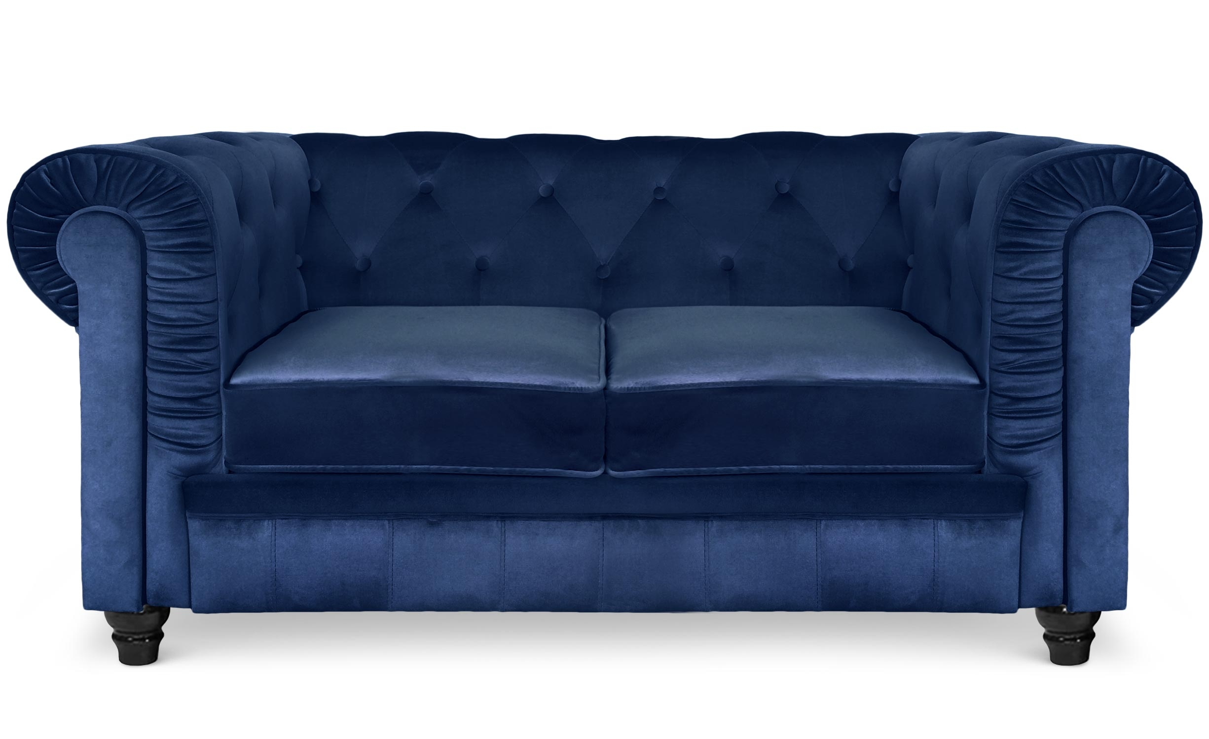 Grand Canapé Chesterfield 2-Sitzer Sofa mit Samtbezug Blau