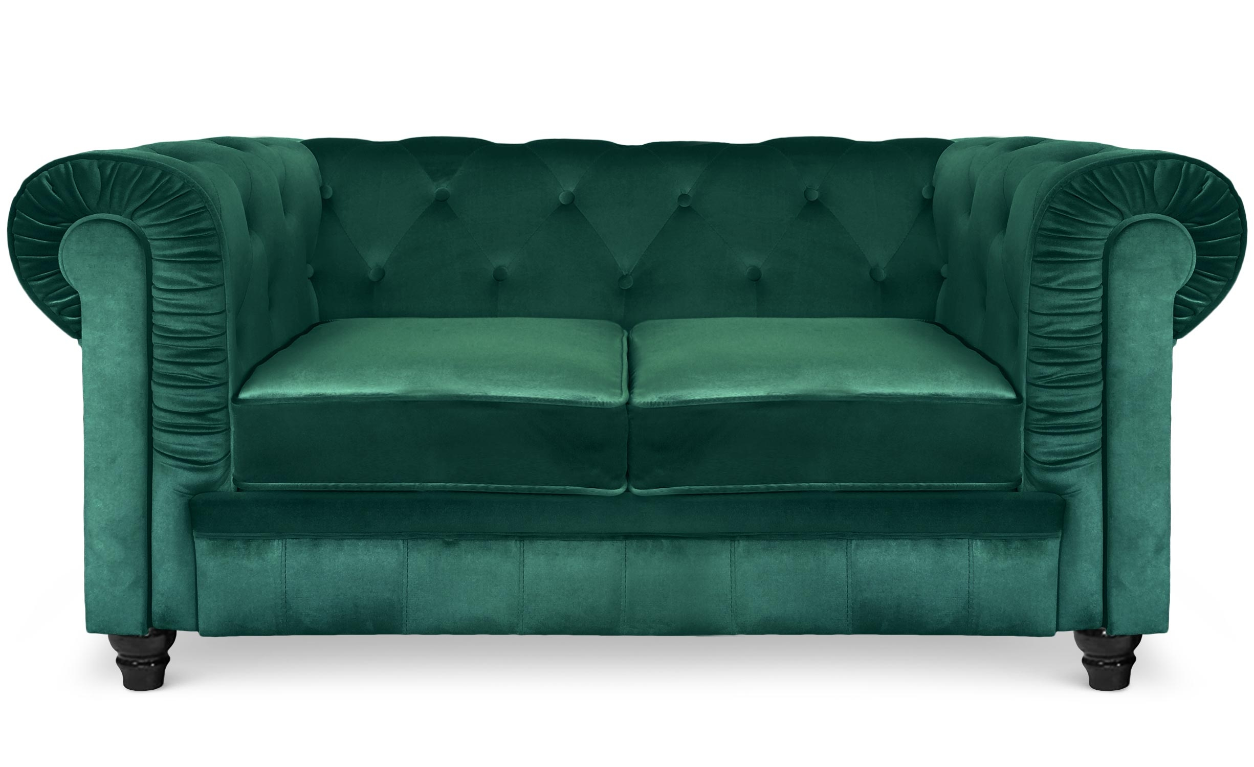 Grand Canapé Chesterfield 2-Sitzer Sofa mit Samtbezug Grün