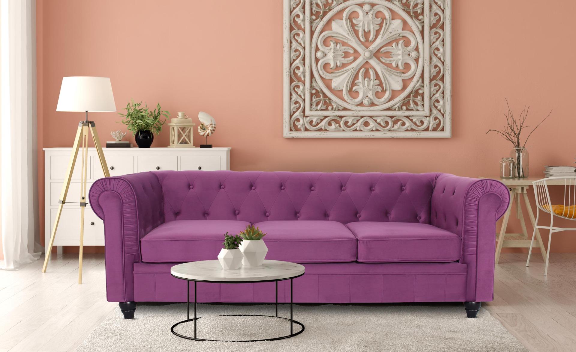 Grand Canapé Chesterfield 3-Sitzer Sofa mit Samtbezug Lila