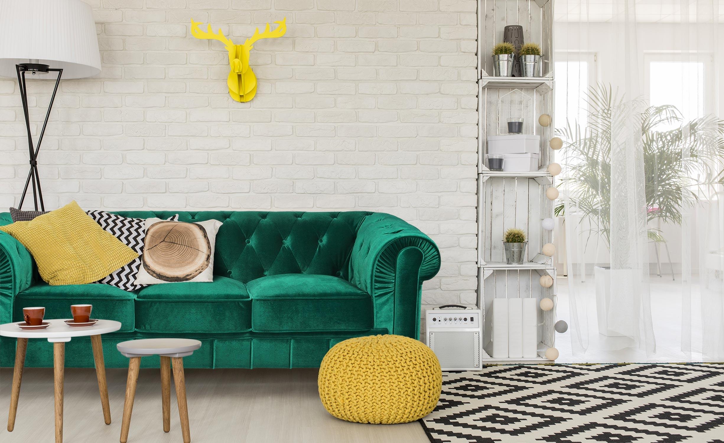Grand Canapé Chesterfield 3-Sitzer Sofa mit Samtbezug Grün