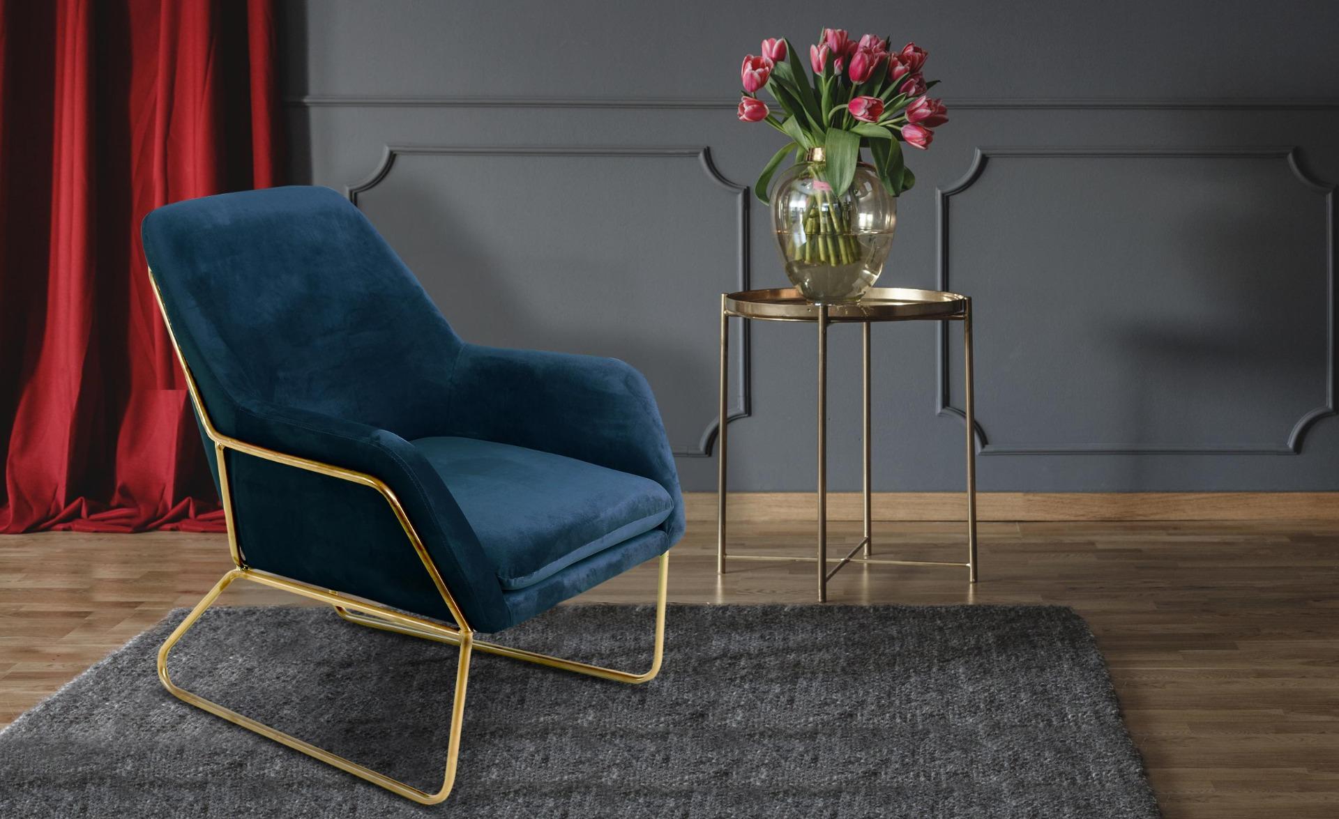 Claudio Sessel mit goldenen Metallbeinen und Samtbezug Blau