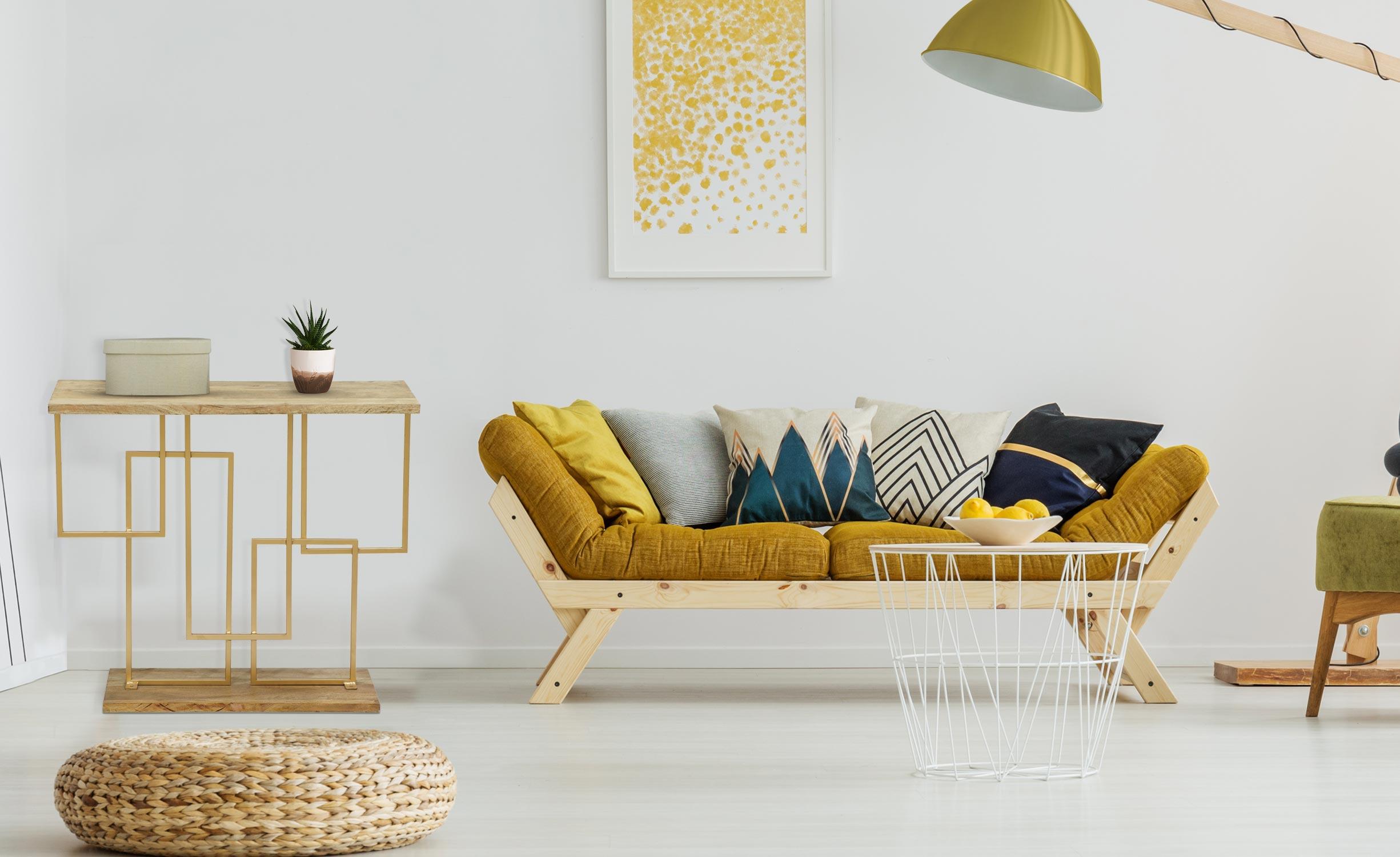 Penta Konsolentisch aus Holz und Goldmetall