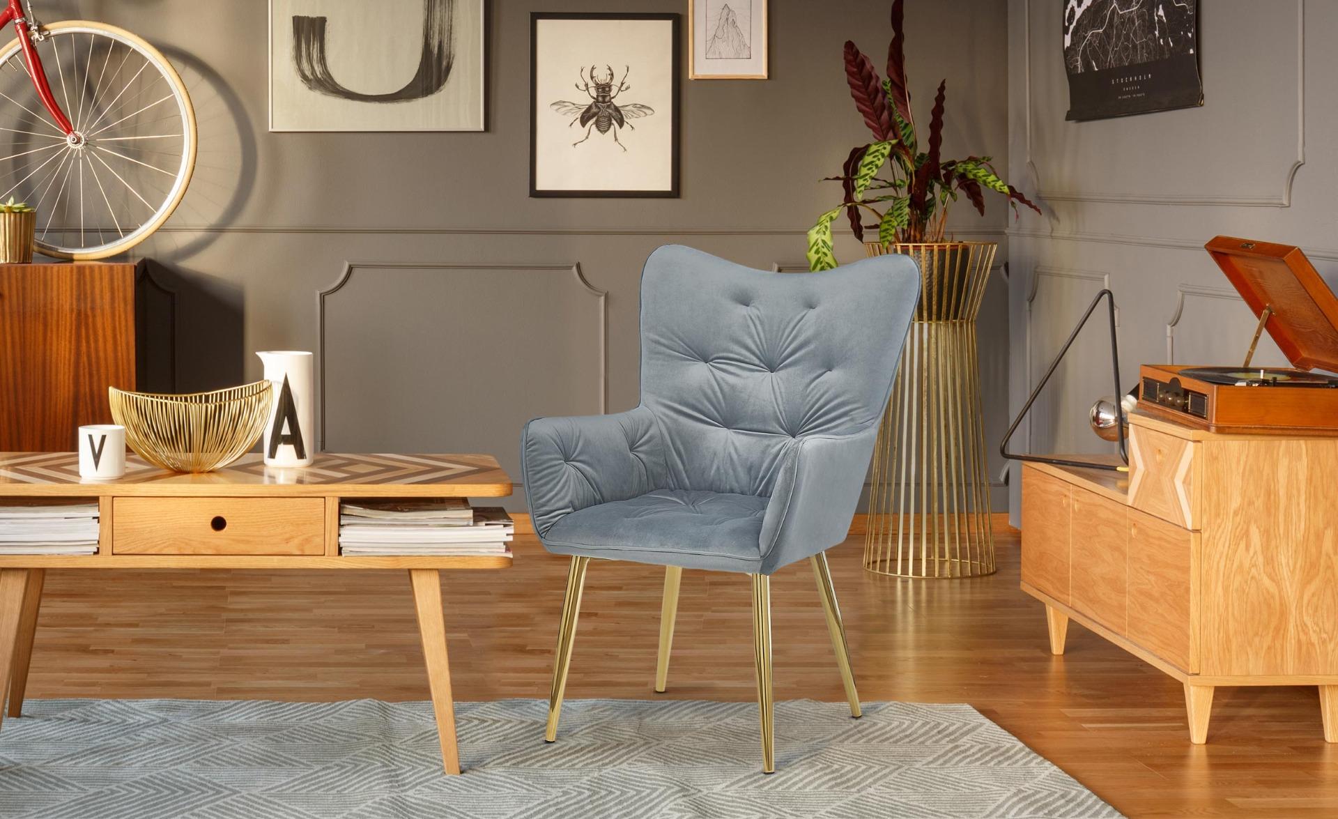 Cronin Skandinavischer Sessel mit goldenen Beinen und Samtbezug, Silber