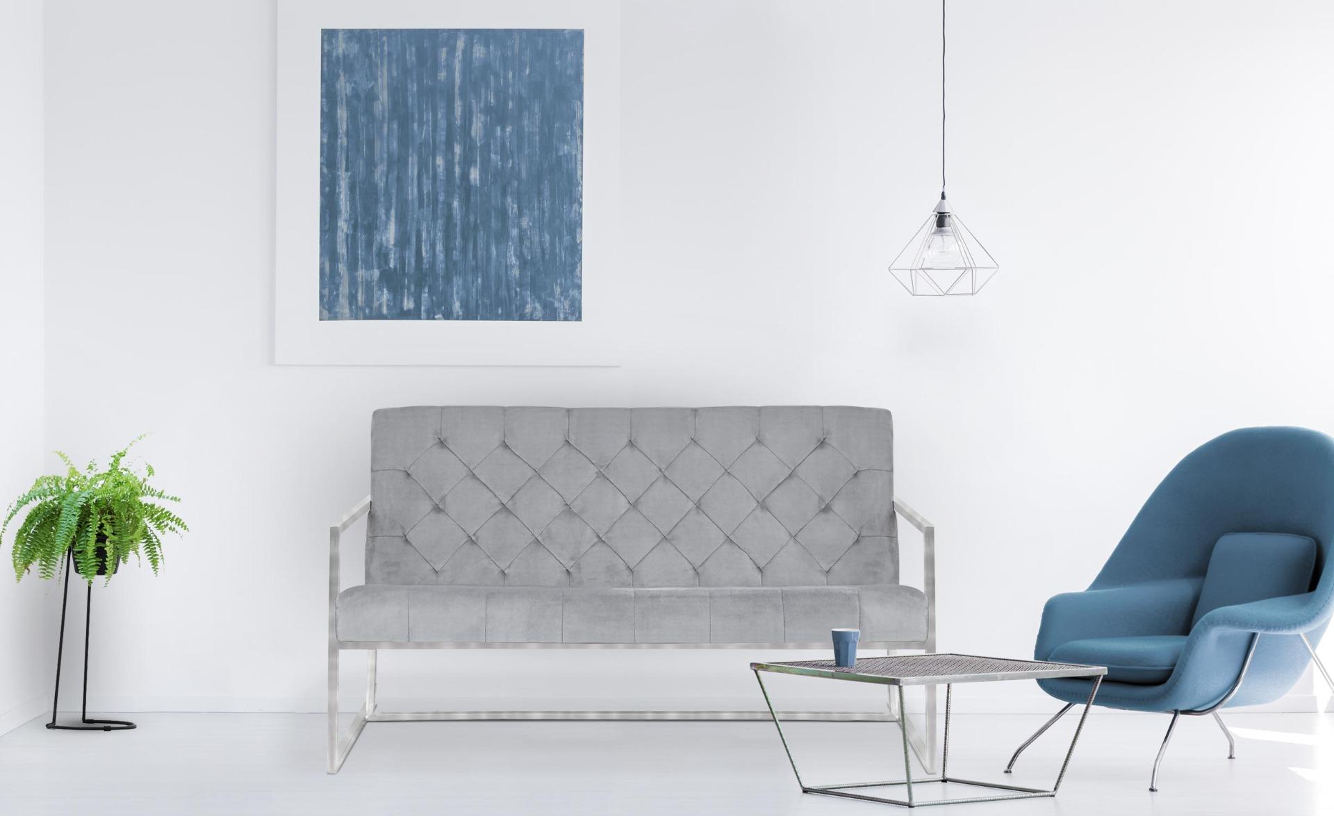Dallas 2-Sitzer Sofa mit silbernen Metallfüßen und Samtbezug, Silber