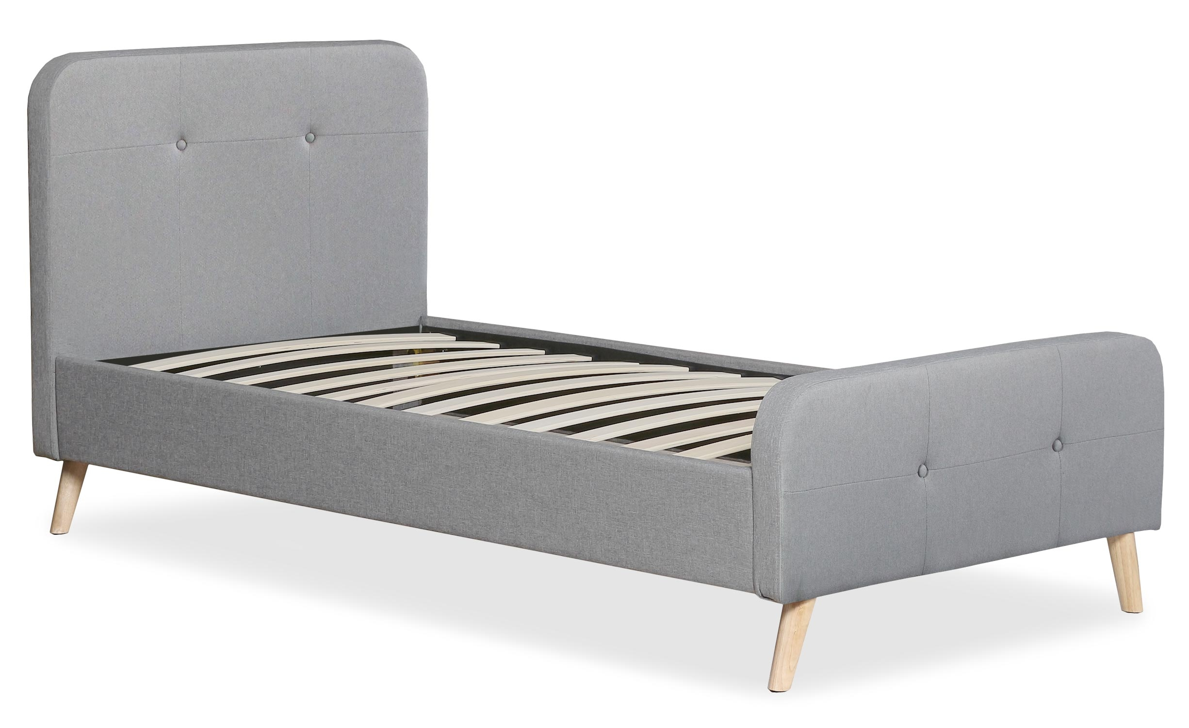 Delano Skandinavisches Bett mit Kopfteil und Lattenrost 90x190cm, Stoffbezug Grau