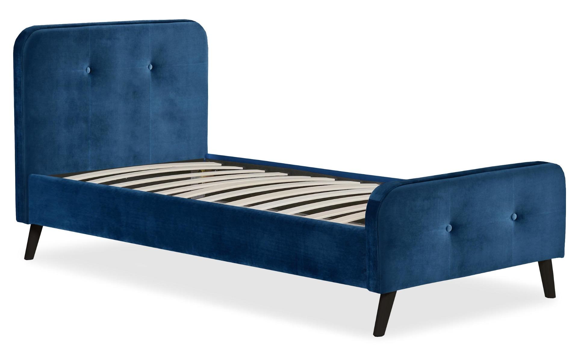 Delano Skandinavisches Bett mit Kopfteil und Lattenrost 90x190cm, Samtbezug Blau
